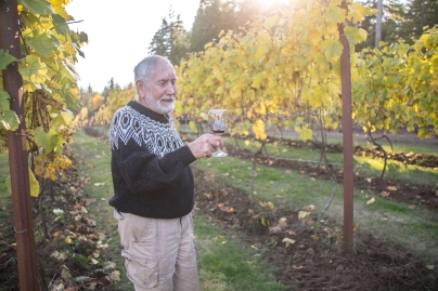 Selwyn Jones among the grapevines at Corlan Vineyards